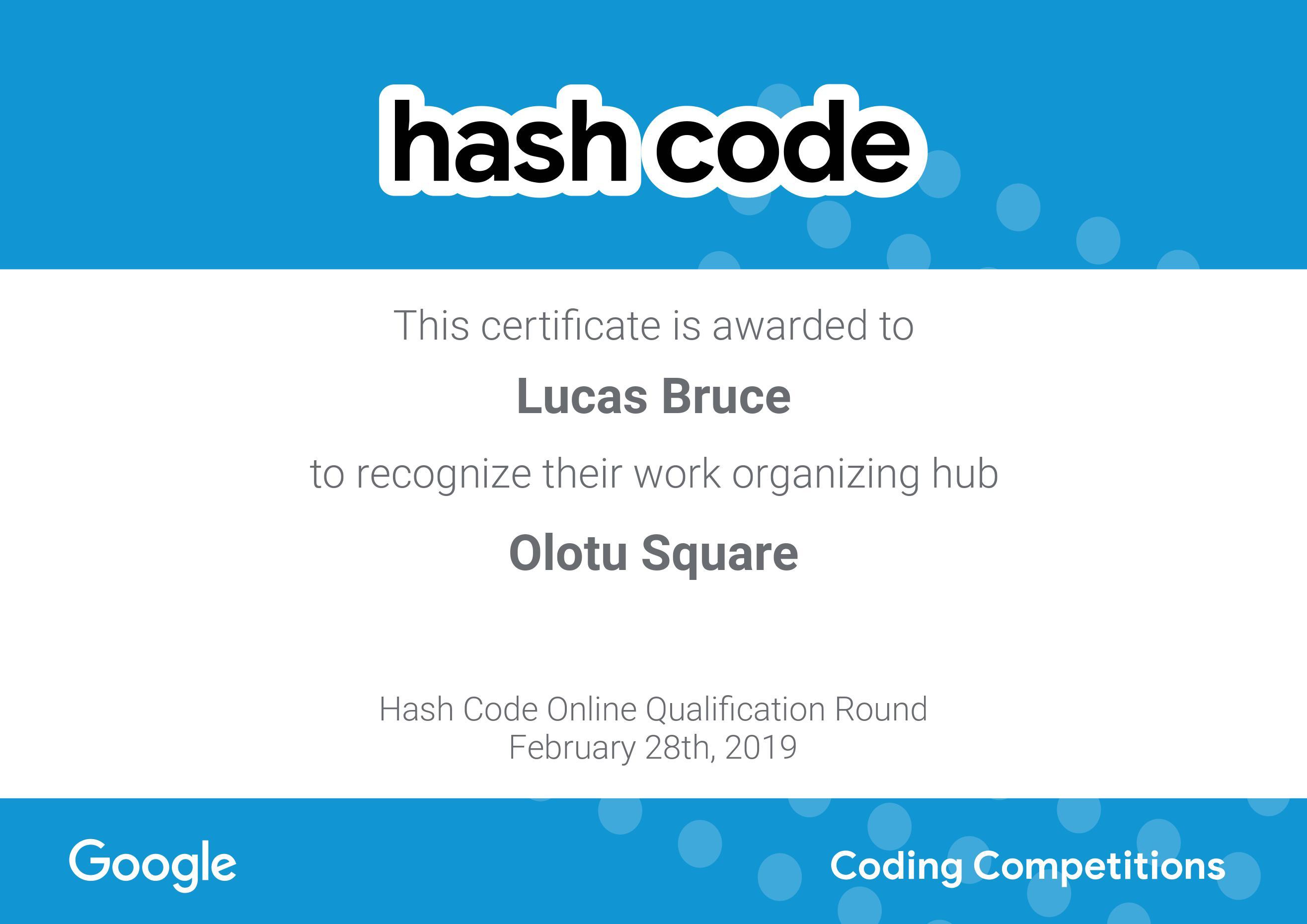 Google HashCode Organizer Award Certificate